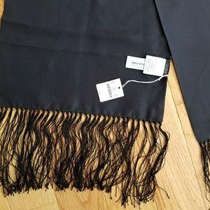 NWT J. Crew black silk scarf